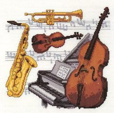 Musical Instruments Sampler Cross Stitch Kit | sewandso
