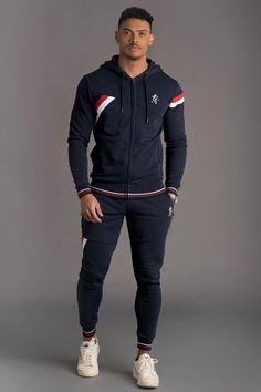 Gym King Armstrong Tracksuit Top - Navy Nights - Hoodies & Sweaters from Urban Celebrity UK Mens Tracksuit Set, Tracksuit Tops, Mens Jogger Pants, Mens Sweatpants, Stylish Men, Men Casual, Versace Tracksuit, Track Suit Men, Sport Outfits