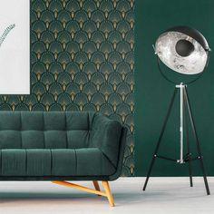 ideas vintage interior art deco for 2019 Salon Art Deco, Art Deco Stil, Art Deco Wallpaper, Green Wallpaper, Green Wall Decor, Motif Art Deco, Estilo Art Deco, Vintage Interior Design, Art Deco Furniture
