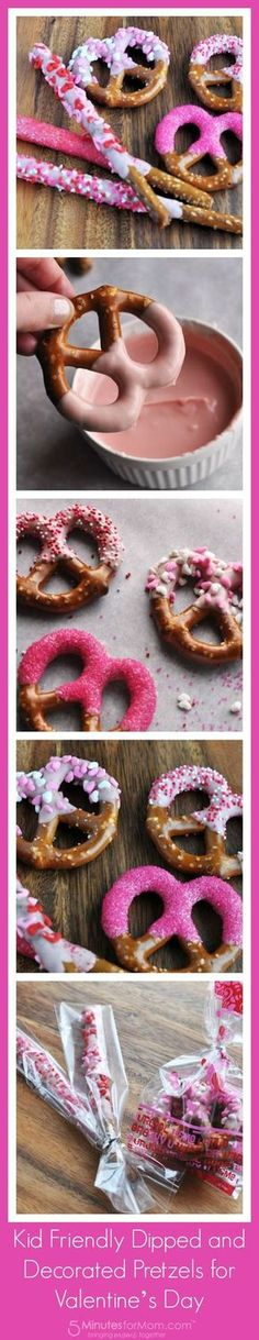 Dipped pretzels are a cute and tasty edition to any Valentine's Day party! Get it done In style with our Candy Melts & heart sprinkles! Thanks 5Minutesformon.com!