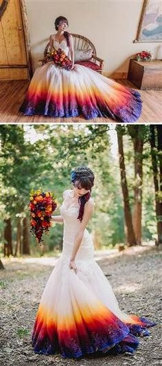 This dip-dyed wedding dress includes shades of purple, blue and bright pink. This is a great source of inspiration if you're planning a fall wedding.