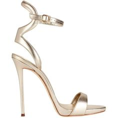 Giuseppe Zanotti Women's Coline Ankle Strap Metallic Leather Sandals (11.937.505 IDR) ❤ liked on Polyvore featuring shoes, sandals, heels, high heels, pumps, charcoal, leather shoes, metallic sandals, leather heeled sandals and ankle wrap sandals