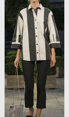 Wide stripe blouse & pinstripe cropped pants/ Cheap Monday