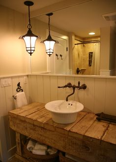 Eclectic Bathroom Powder Room Design, Pictures, Remodel, Decor and Ideas - page 9 Rustic Bathroom Lighting, Rustic Light Fixtures, Rustic Bathroom Vanities, Eclectic Bathroom, Rustic Bathrooms, Rustic Lighting, Small Bathroom, Lighting Design, Bathroom Ideas
