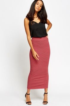 Ribbed Stripe Maxi Pencil Skirt
