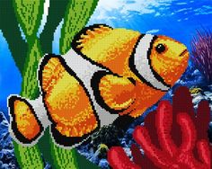 Beaded embroidery kit Clown Fish br br Beaded embroidery is easy to make This is relaxing and very aesthetic hobby You will get terrific result with tiny efforts - unique Embroidery Kits, Beaded Embroidery, Cross Stitch Embroidery, Embroidery Hoops, Lion Wallpaper, Fisher, Free To Use Images, Beaded Animals, Button Art