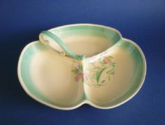Unusual Susie Cooper Crown Works Pottery Green 'Dresden Spray' Trefoil Serving Dish c193