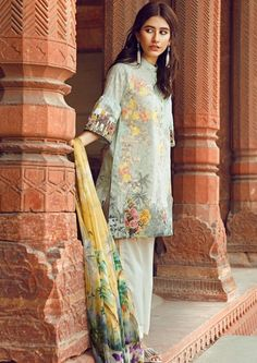 Cross Stitch Light green digital printed Eid dress with pure #silk_chiffon_dupatta