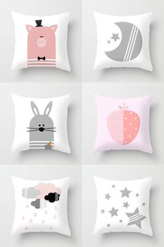 Pink and gray nursery or kids room decorative throw pillows on Society6, Bunny pillow, Pig pillow, Clouds pillow, Stars pillow, Strawberry pillow