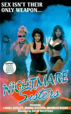 I would rethink the sex option if I learned their name: Nightmare Sisters Movie Poster Puzzle Fun-Size 120 pcs Action Movie Poster, Action Movies, Horror Movie Posters, Horror Movies, 80s Movies, Cult Movies, Michelle Bauer, Movies Of The 80's, Sisters Movie