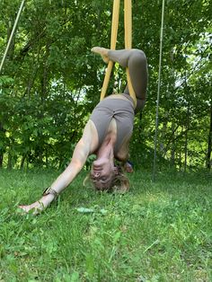 AIReal Yoga sells aerial hammocks and outdoor and portable rigs for outdoor aerial yoga.  Founder Carmen Curtis