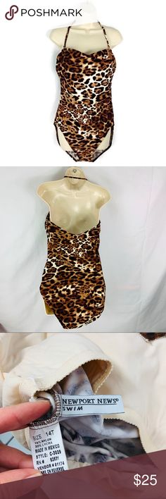 be9412c512 Newport News Leopard Plus Size Tall Swimsuit EUC Newport News Leopard Plus Size  Tall Swimsuit In excellent used condition. Measurements in photos.