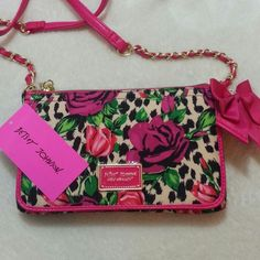 "NWT Betsey Johnson Floral Crossbody Hot pink floral crossbody, you can use it as wallet too ♥ measurements 5""x 1""x 8.5"". Strap drop 22"". No trade, use offer button ♥ Betsey Johnson Bags Crossbody Bags"