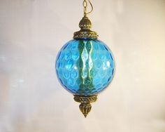 Vintage 70's Blue Glass Globe Hanging Swag Lamp Retro Light Diffuser Brass Mid