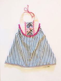 Pink and blue festive halter summer dress on Etsy, $48.00