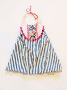 Pink and blue festive halter summer dress by thebrassrazookids, $48.00