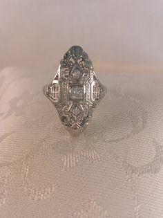 Art Deco Diamond Filigree Ring in 18k White Gold by TheEstateBling