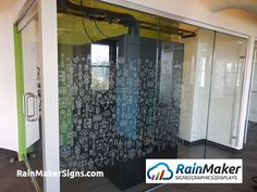 A fun, creative, and energetic tech company office decorated with cartoon themed custom cut window graphics. Frosted Window, Office Branding, Window Graphics, Environmental Graphics, Retail Space, Office Decor, Tech Companies, Seattle, Conference Room