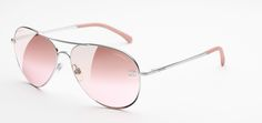 Silver & light pink Pilot Signature Chanel Sunglasses with Pink Mirror Lenses