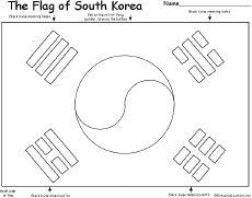 korea coloring page south korean flag quizprintout