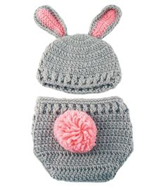 This set is perfect for the newest little bunny in your life. This set is crocheted with grey and pink yarn. The hat has two floppy ears sewn securely to it. The diaper cover also has a little fluffy