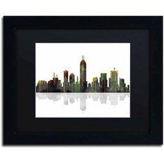 Marlene Watson Indiana Indianapolis Skyline Matted Framed Art, Size: 11 x 14, Multicolor