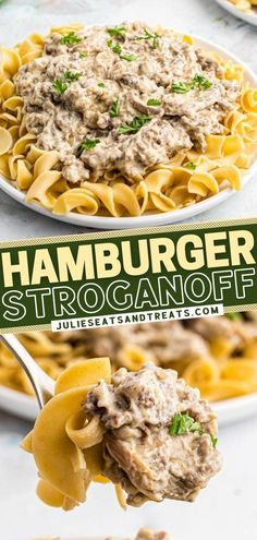 A simple, 30-minute recipe that calls for pantry staples! Not only is Hamburger Stroganoff budget-friendly, but it is also hearty and filling. Serve this comfort food of ground beef and sour cream sauce over egg noodles or mashed potatoes for an easy winter dinner! Sour Cream Pasta, Sour Cream Sauce, Ground Beef Sour Cream Recipe, Pulled Pork Pasta, Hamburger Stroganoff, 30 Minute Meals, Beef Recipes, Yummy Recipes, Pinterest Recipes