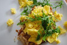 scrambled eggs on coconut bread - so yummy <3