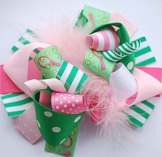 boutique FUNKY fun TENNIS girl hair bow clip by andjane on Etsy, $12.99