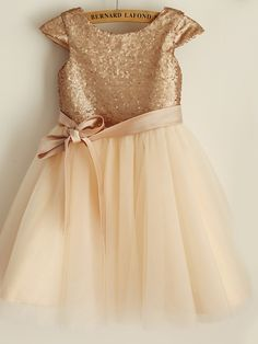 Princess Knee Length Flower Girl Dress - Satin Tulle Sequined Short Sleeves Scoop Neck with Sequin Bow(s) Sash / Ribbon by LAN TING 2018 - Flower Girls, Tulle Flower Girl, Cheap Flower Girl Dresses, Cute Girl Dresses, Girl Outfits, Princess Flower, Satin Tulle, Tulle Dress, Sequin Dress