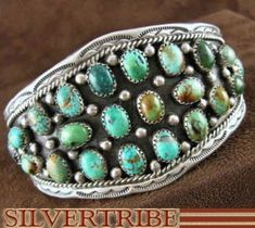 Native American Jewelry Navajo Turquoise Sterling Silver Cuff Bracelet AS43920 $299.99