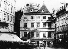 """The """"Elephant House"""" around Until 1866 it was at the eastern end of Graben street. On the left of the house is """"Schlössergasse"""", on the right is """"Grabengasse"""" Building Images, Old Photographs, City Buildings, Vintage Postcards, Vienna, Genealogy, Maui, Austria, Old Things"""