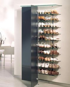 HomeDecor Shoe storage ideas, shoe organization, shoe storage ideas for small spaces, clos. Shoe Storage Bins, Shoe Storage Solutions, Closet Shoe Storage, Kitchen Storage, Storage Spaces, Shoe Racks, Shoe Storage Ideas For Small Spaces, Wall Mounted Shoe Storage, Shoe Shelves