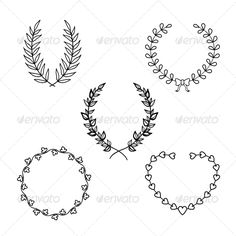 Hand Drawn Rustic Vintage Wreaths With Hearts Floral Vector Graphic