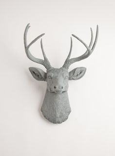 Faux Taxidermied - The Geoffrey - Gray Resin Deer Head- Stag Resin Grey Faux Taxidermy- Chic & Trendy on Etsy, $99.99