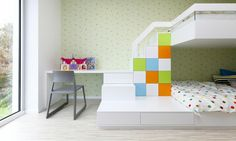 Relaxing Spacious Apartment for Large Family: Unbelievable Colourful Details Applied Inside Kids' Bedroom To Help Children To Develop Brain . Contemporary Interior Design, Modern Interior, Cool Kids Rooms, Grey Desk, Childrens Room Decor, Modern Colors, Kid Spaces, Interiores Design, Girl Room