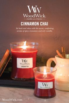 Cinnamon Chai is the perfect fragrance to lift your spirits after a long day. It's warm, comforting aroma mixes the perfect amount of spicy cinnamon with soft, rich vanilla notes to help you unwind and relax. WoodWick® candles use a natural, wooden wick that creates the soothing sound of a crackling fire #candles