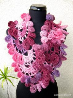 "Unique+Crochet+Patterns | Multicolored ""Lyubava"" Unique Scarf by Lyu... 