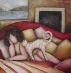 Maria Grazia Innocenti (MGI) - Il gatto rosa e l'anello della regina - 2007 - Acrilico su tela preparata con gesso, carta e sabbia