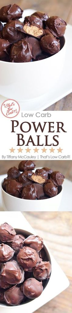 Peanut Butter-Chocolate Protein Power Balls (use low carb PB, chocolate; #lowcarb)