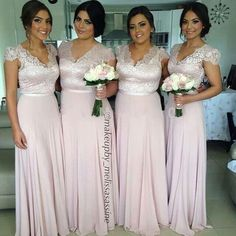 Elegant 2015 Plus Size Bridesmaid Dresses With Sleeves Sheer V Neck Sweep Train Chiffon And Lace Blush Party Gowns Long Prom Dress, $74.46 | DHgate.com