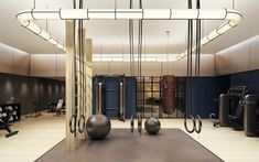 Your Dream Home Gym is Just Click Away - Greystone Statement Interiors - Carola Spa Design, Home Gym Design, Design Ideas, Dream Home Gym, At Home Gym, Luxury Gym, Luxury Homes, College Workout, College Fitness
