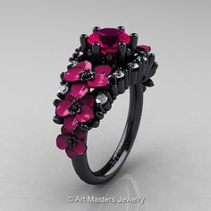 Nature Classic 14K Black Gold 1.0 Ct Rose Ruby por artmasters