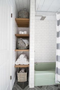 These Bathroom Storage Solutions Are Serious Game-Changers 2019 Create A Skinny Alcove for small bathroom storage The post These Bathroom Storage Solutions Are Serious Game-Changers 2019 appeared first on Bathroom Diy. Bathroom Storage Solutions, Small Bathroom Storage, Diy Bathroom Decor, Bathroom Renos, Bathroom Interior Design, Bathroom Linen Closet, Shelving In Bathroom, Bathroom Cabinets, Bathroom Storage Furniture