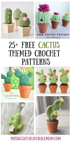 More than 25 free cactus crochet patterns, including amigurumis, pillows, coasters, keychain and more!!