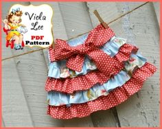 PDF Sewing Pattern.....Jessalyn Ruffled Boutique Mini Twirl Skirt with Bow. Infant 12mo to girl's size 12yrs