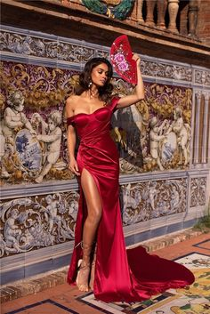 Mermaid Evening Dress Red Silk Satin Off The Shoulder High Slit With Train Flowy Prom Dresses, Royal Blue Prom Dresses, Prom Dresses Long With Sleeves, Mermaid Evening Dresses, Cheap Semi Formal Dresses, Inexpensive Prom Dresses, Estilo Glamour, Discount Prom Dresses, White Ball Gowns