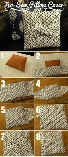 Check out the tutorial: DIY No-Sew Pillow Cover crafts decor - Easy Diy Home Decor Diy Home Decor Projects, Easy Home Decor, Handmade Home Decor, Home Crafts, Diy Crafts, Wood Projects, Sewing Pillows, Diy Pillows, Cushions
