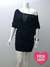 Womens Plus Size Clothing Dress Jersey Off Shoulder Black Sexy US XXL 2X D10B