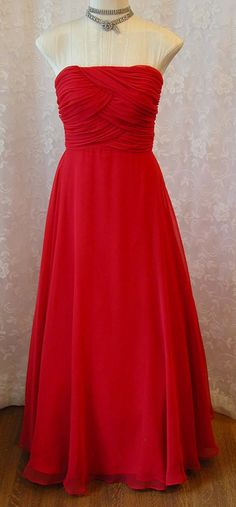 0a394c96f031 Reserved for Rebecca 1970s Mike Benet Strapless Evening Gown - Red Chiffon  - Gathered Bodice - Full Skirt - Vintage Formal Prom Gown -Size 8